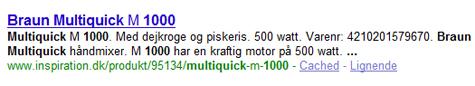 Google søgeresultat fra inspiration.dk