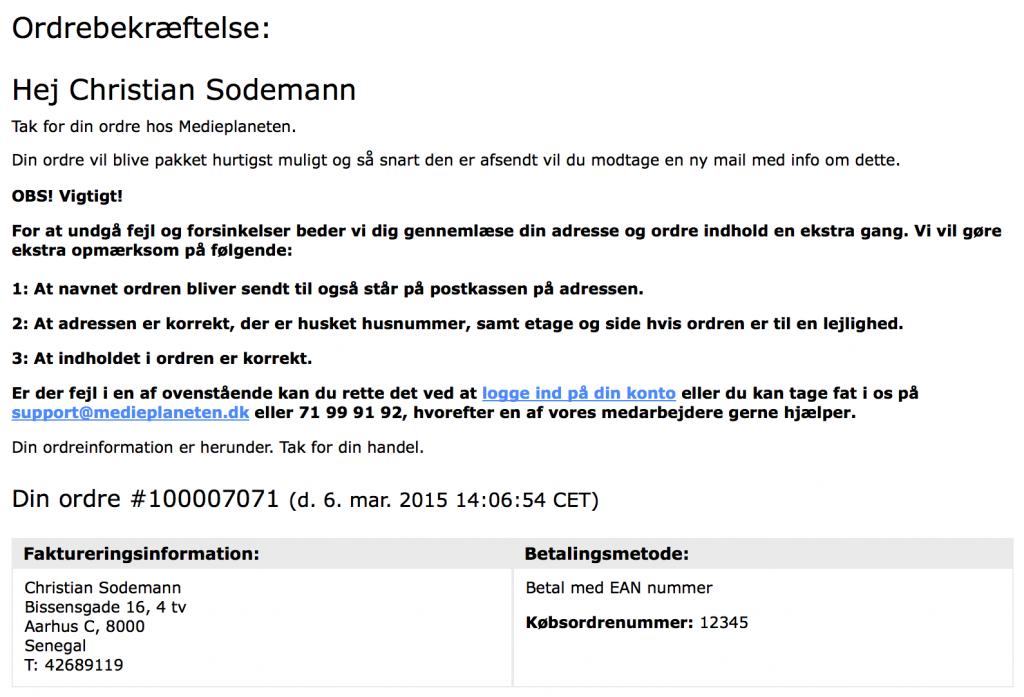 Et eksempel på en standard ordre mail i Magento