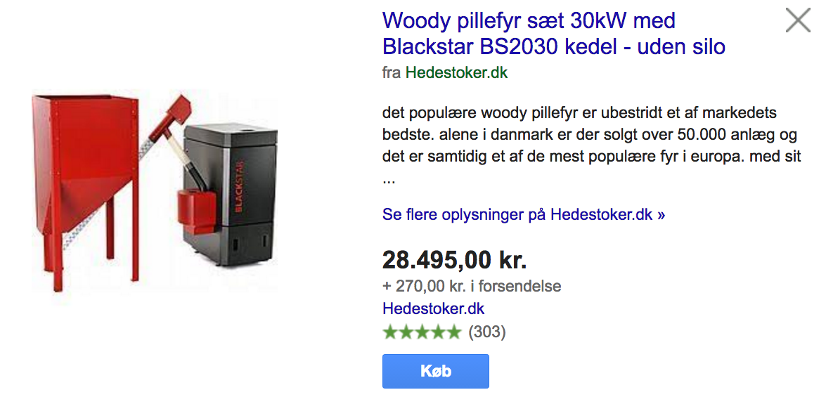 Google Shopping eksempel 3