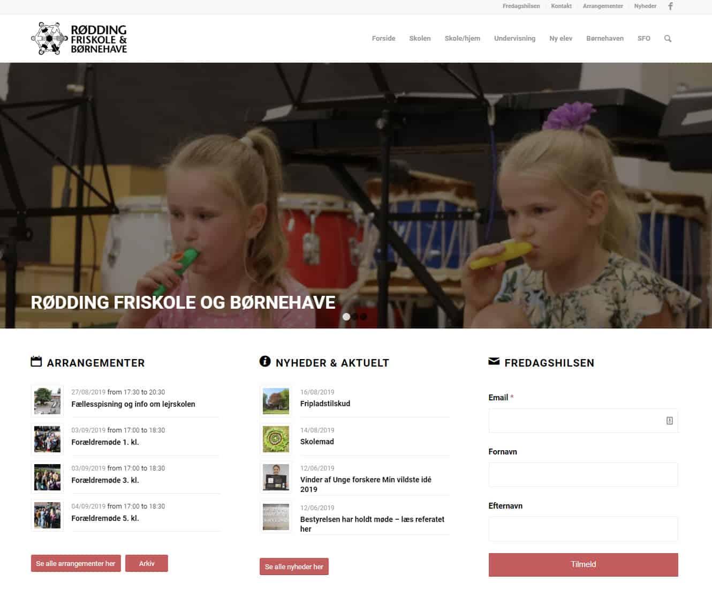 Screenshot af hjemmesiden til Rødding Friskole og Børnehave